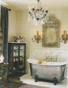 Loving the bath in the fancy boudoir