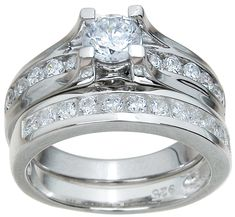 1.25 Ct. Solitaire Wedding Engagement Ring Set Women's Sterling Silver Bridal Set