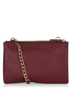 Triple Zip Top Across Body Bag   Purple   Accessorize