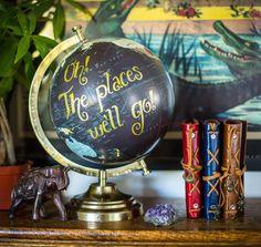 Globe, Travel, Wanderlust, Travel Gift, Wedding Globe, Dr. Seuss, Oh The Places We'll Go, Typography by WeTrustInWanderlust on Etsy https://www.etsy.com/listing/265353323/globe-travel-wanderlust-travel-gift