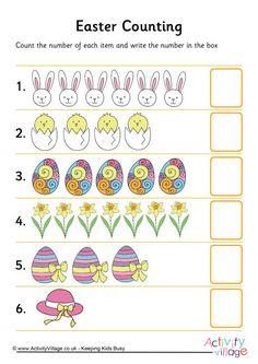 Count the Easter pictures and write the correct number in the box. This counting worksheet is one of three we have with an Easter theme. Counting Worksheet, Activity Village, Easter Pictures, Business For Kids, Worksheets, Bullet Journal, Activities