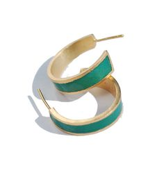 Emerald Green Enamel and 22k gold plated silver, geometric hoop stud earrings on Etsy, $85.00