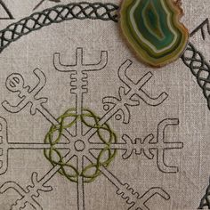 """""""Whoever carries this sign, will never lose his way, either in a storm or in bad weather - even when the path is unknown"""" Embroidered rune cloths and rune bags with Vegvisir you can buy in my shop on Etsy Viking Embroidery, Embroidery Patterns, Hand Embroidery, Vikings, Rune Casting, Runic Compass, Viking Garb, Viking Clothing, Altar Cloth"""