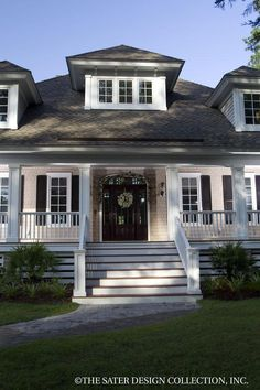 Oak Island Home - Exterior View Plan 7062 Sater Design Oak Island House Plan. Yeah not a ranch - just ignore the upstairs Custom Home Plans, Custom Homes, Porch Columns, Large Baths, Oak Island, Country Style House Plans, New Interior Design, House Floor Plans, Great Rooms