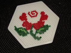 Rose hama perler by Cahouette creat's