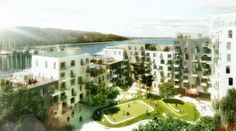 Outdoor plan for apartments in Aarhus. Lots of greens and rooftop greenhouses