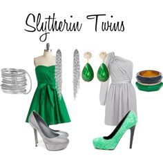 Slytherin Twins, created by nearlysamantha on Polyvore