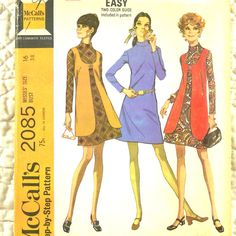 Dress and Vest, McCalls 2085 Pattern for Women, Back Zipper, French Darts, Scoop Neck, Stand Up Collar, 1969 Uncut, Size 16 * FREE SHIPPING in
