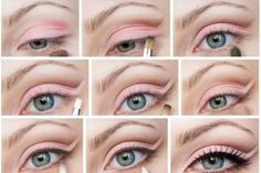 Make up pink eyeshadow step by step. Click image for more details about beauty. Pink Eye Makeup, Makeup For Green Eyes, Pink Eyeshadow, Natural Eye Makeup, Natural Eyes, Day Makeup, Makeup Tips, Makeup Tutorials, Makeup Eyeshadow