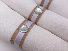 Wedding Napkin Rings: Wedding Table Decor, Diamante Napkin Rings, Natural Jute Napkin Holder