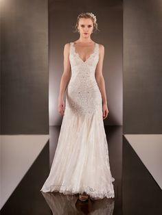 Elegant Beaded Straps Plunging V-neck Lace Wedding Dresses with Square Open Back