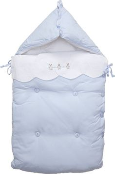 Mayoral Blue Padded Cotton Baby Nest with Bunny (80cm)   Childrensalon