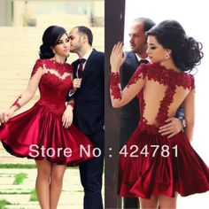 Free shipping-2014 Elegant Newest Tulle Evening Dresses Dark Red Appliques Long Sleeve Short Prom Formal Dresses
