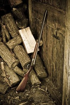 My Appalachia - Need to keep Your gun nearby, there might be a poisen snake in the woodpile. Rifles, Hunting Guns, Cool Guns, Firearms, Shotguns, Guns And Ammo, Weapons, Cold Mountain, Mountain Living