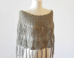 Crochet Poncho / FringedCotton Capelet / Summer Lace Shawl / Women Summer Crochet Clothes / Custom Made To Order