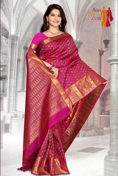 Pink color body with multi color Jacquard design #kanchipuramsarees visit: http://www.saridhoti.com