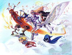 Girls of DC Nation at Comic Art Community!   Girls of DC Nation by Brianne Drouhard  Starfire Batgirl Amethyst, Princess of Gemworld Wonder Girl Thunder Lightning Supergirl Raven Super Best Friends Forever Teen Titans