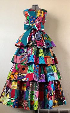 african print dresses Bodacious Lush and Full African Wax Print Tiered Dress Genuine African Maxi Dresses, Ankara Dress Styles, African Fashion Ankara, Latest African Fashion Dresses, African Print Fashion, African Attire, African Wear, Africa Fashion, African Style