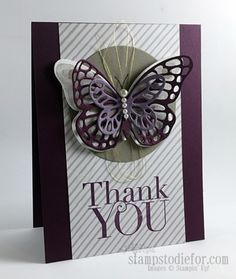 handmade thank you card .. layered Butterfly Thinlits ... deep purples and grays for Colour