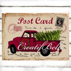 Vintage Christmas Red Truck Postcard Large Instant by CreatifBelle
