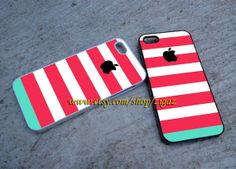 Pink Stripes Apple Logo on iPhone 5C Case iPhone 5S & 5 by ZIGAZ, $16.00