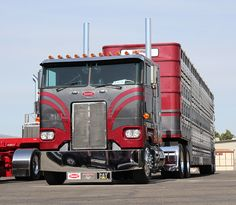 Petey cabover low and stretch out! Big Rig Trucks, Semi Trucks, Cool Trucks, Peterbilt 379, Peterbilt Trucks, Train Truck, Jeep Truck, Custom Big Rigs, Custom Trucks