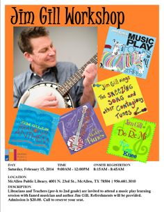 Jim Gill Workshop. Feb 2014, MPL Children's Dept.