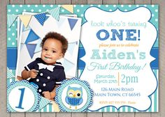 Boys 1st Birthday Invitation / Blue Owl  / by InvitaitonsByLittleP