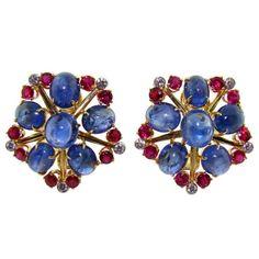 Vintage Earrings, Clip On Earrings, Jewelry Box, Jewelery, Fantasy Jewelry, Diamond Earrings, Sapphire, Brooch, Yellow