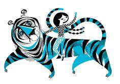 A2 Blue Tiger Screenprint (40.00 GBP) by LesleyToast