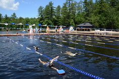 The swim lanes at Camp Pinecliffe, a girls summer camp in Harrison, Maine
