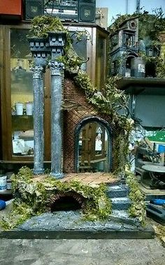 Crib Neapolitan Temple for shepherds 25 cm Crib Cork NIC cm Warhammer Terrain, 40k Terrain, Wargaming Terrain, Architectural Sculpture, Medieval Houses, Free To Use Images, Christmas Nativity, Christmas Background, Sculpture Clay