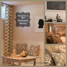 """Monograms 'n Mud Basement Reveal  A basement playroom and game room receives a """"face-lift"""" thanks to floor to ceiling curtains, layers of pillows and personalized artwork. Link includes all the details. Tags: basement, playroom, nautical, silhouette, diy artwork"""