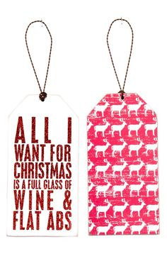 PRIMITIVES BY KATHY 'Wine & Flat Abs' Wine Bottle Gift Tag Christmas