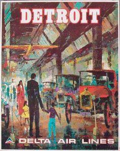 DP Vintage Posters - Delta Airlines Original Vintage Travel Poster Detroit Laycox