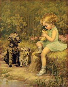 Child with Chick and Dogs : Adelaide Hiebel : Fine Art Giclee  #Painting