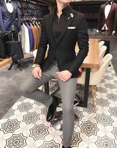 491f49fd9b3 Terziademaltun - İtalyan stil erkek slim fit kadife kaşe blazer siyah tek  ceket T3127 Vintage Inspired