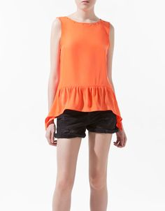 SILK TOP WITH FRILLED HEM - Shirts - Woman - ZARA United States