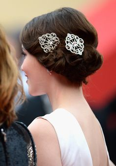 Actress Katie Chang looked stunning accessorizing her hairdo with two Swarovski Valora Brooches at the Cannes opening ceremony