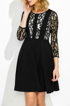 $23.80 Lace Trim Panel Fit and Flare Dress