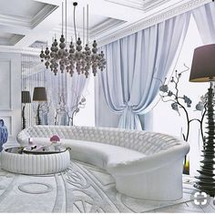 love the curvy sofa. beautiful chandelier and color pallet 💙💙💙 design credit - Unknown . Mansion Interior, Living Room Interior, Living Room Decor, Sofa Design, Furniture Design, Rideaux Design, Luxury Interior Design, Dining Room Design, Luxury Living