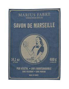 """Torchon en coton tissé, """"Savon de Marseille"""" - Savonnerie Marius Fabre"""
