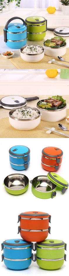 $8.59 2 Layers 3 Styles Stainless Steel Lunch Box Portable Thermal Insulation Dinnerware Sets