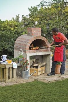 Build your own pizza oven at outdoor kitchen