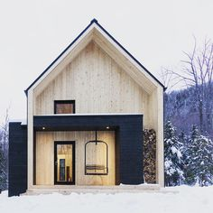 "Accessories:Contemporary Wood Villa Home Exterior Walls Doors Windows Roofs Walls Wood Swings Porch Front Lights Snow Winter Spruce Stairs The Front Door The Porch Light Living Room Canadian Cottage Exudes ""Modern Scandinavian Barn"" Amazing Modern Cottage, Modern Farmhouse, White Cottage, Mountain Cottage, Cottage Style, Small Modern Cabin, Modern Cabins, Modern Barn, Cottage House"