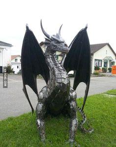 Someone fabricated a metal dragon