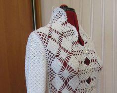 Chaqueta de encaje chaqueta mujeres ropa chaqueta blanca Crochet blusa chaqueta de punto de ganchillo
