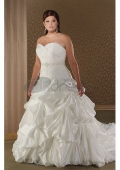 Taffeta Sweetheart Strapless Asymmetrical Pick-up Ball Gown with Semi Cathedral Train Plus Size Wedding Dress (Wedding gown B)