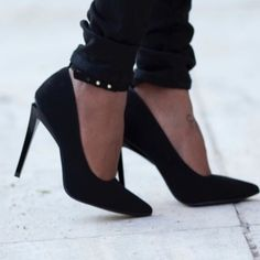 Black ankle strap stiletto heels Brand: Shoedazzle Size: 8 New(with box) Color: Black  Faux suede Ankle strap Pointed toe  Glossy heel Heel height about 4in No Trade Shoe Dazzle Shoes Heels