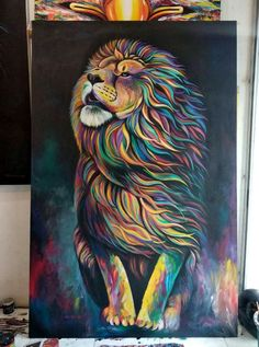 Illustrations Discover Acrylic on canvas 200 x 130 cm Lion Painting Buddha Painting Sketch Painting Cute Canvas Paintings Acrylic Painting Canvas Animal Paintings Oil Pastel Drawings Lion Art Rainbow Art Easy Canvas Art, Cute Canvas Paintings, Small Canvas Art, Mini Canvas Art, Indian Art Paintings, Acrylic Painting Canvas, Animal Paintings, Drawing On Canvas, Acrylic Painting Animals